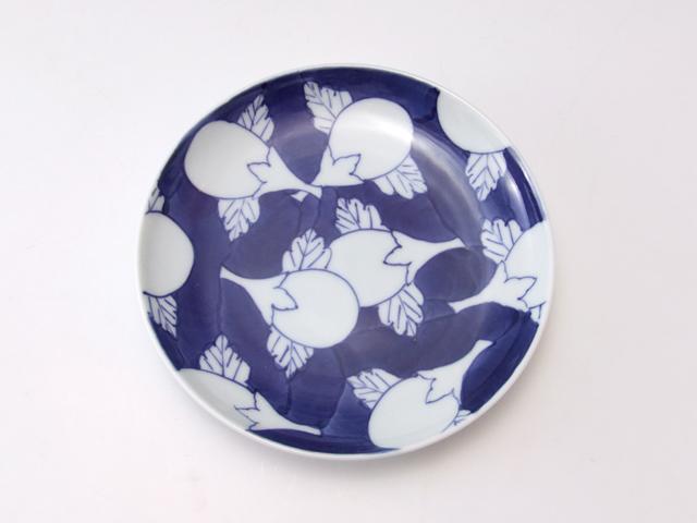 有田焼 青花匠 濃茄子文4.7寸皿