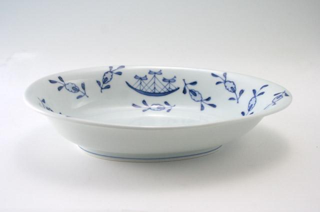 有田焼 青花 草花異人たまご型カレー皿