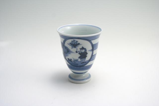 有田焼 青花 長崎紋ワインカップ