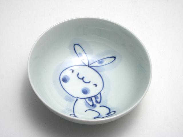 有田焼 青花 うさぎ4寸ボール(おすわり)