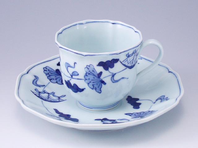 牡丹帆船木甲コーヒー碗皿 しん窯 青花