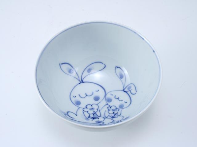 花うさぎ3.8寸丸飯碗 しん窯 青花
