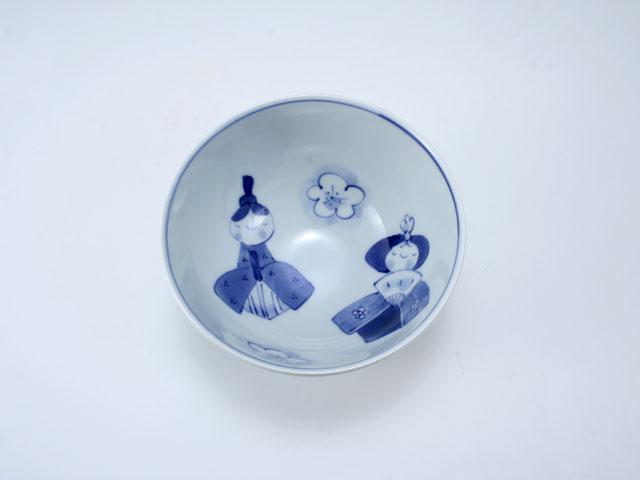 ひな人形3.8寸丸飯碗 しん窯 青花