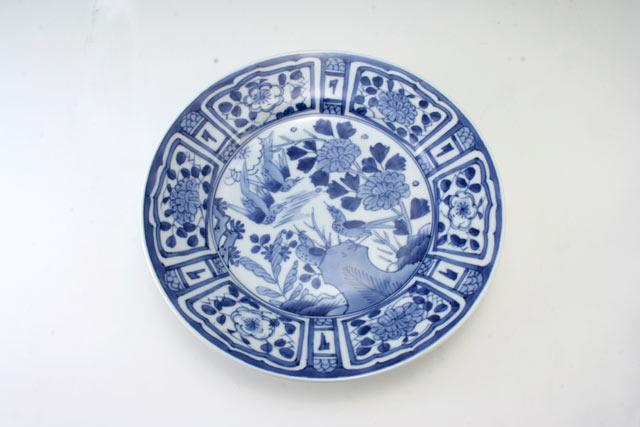 有田焼 青花 芙蓉手甲型8寸皿