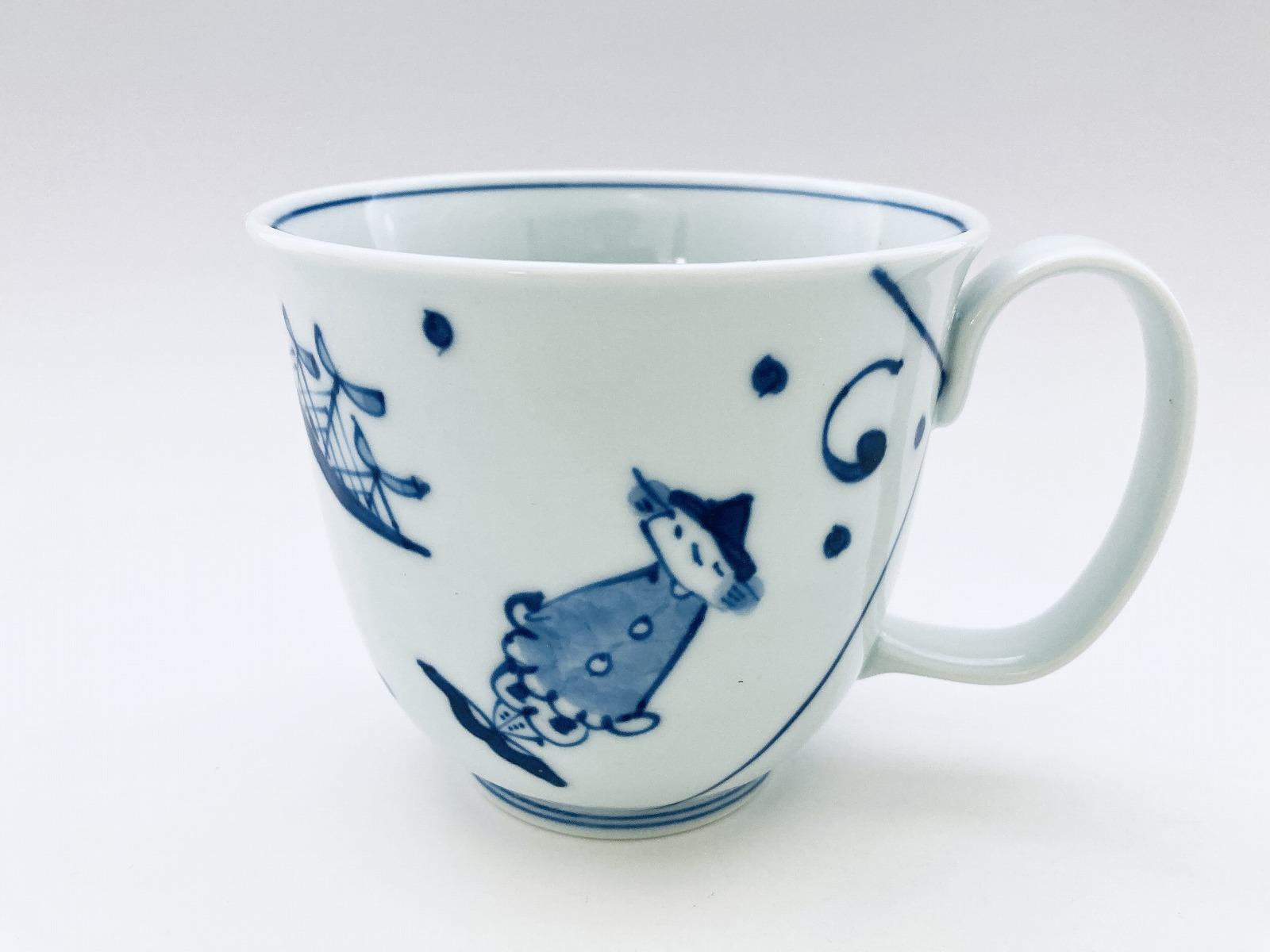 濃マント異人フリーマグカップ(大)しん窯青花