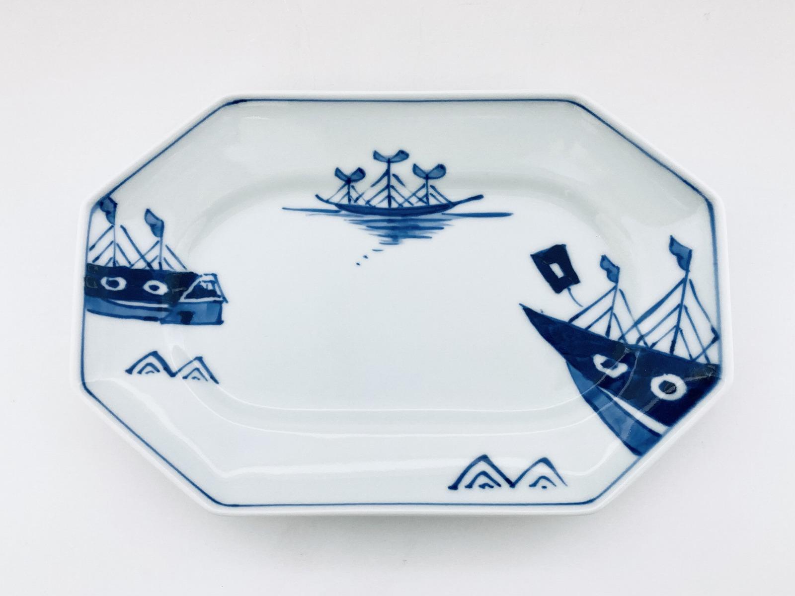 オランダ船八角長角皿