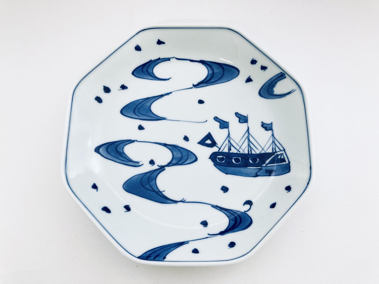 大航海正八角7寸皿 しん窯青花