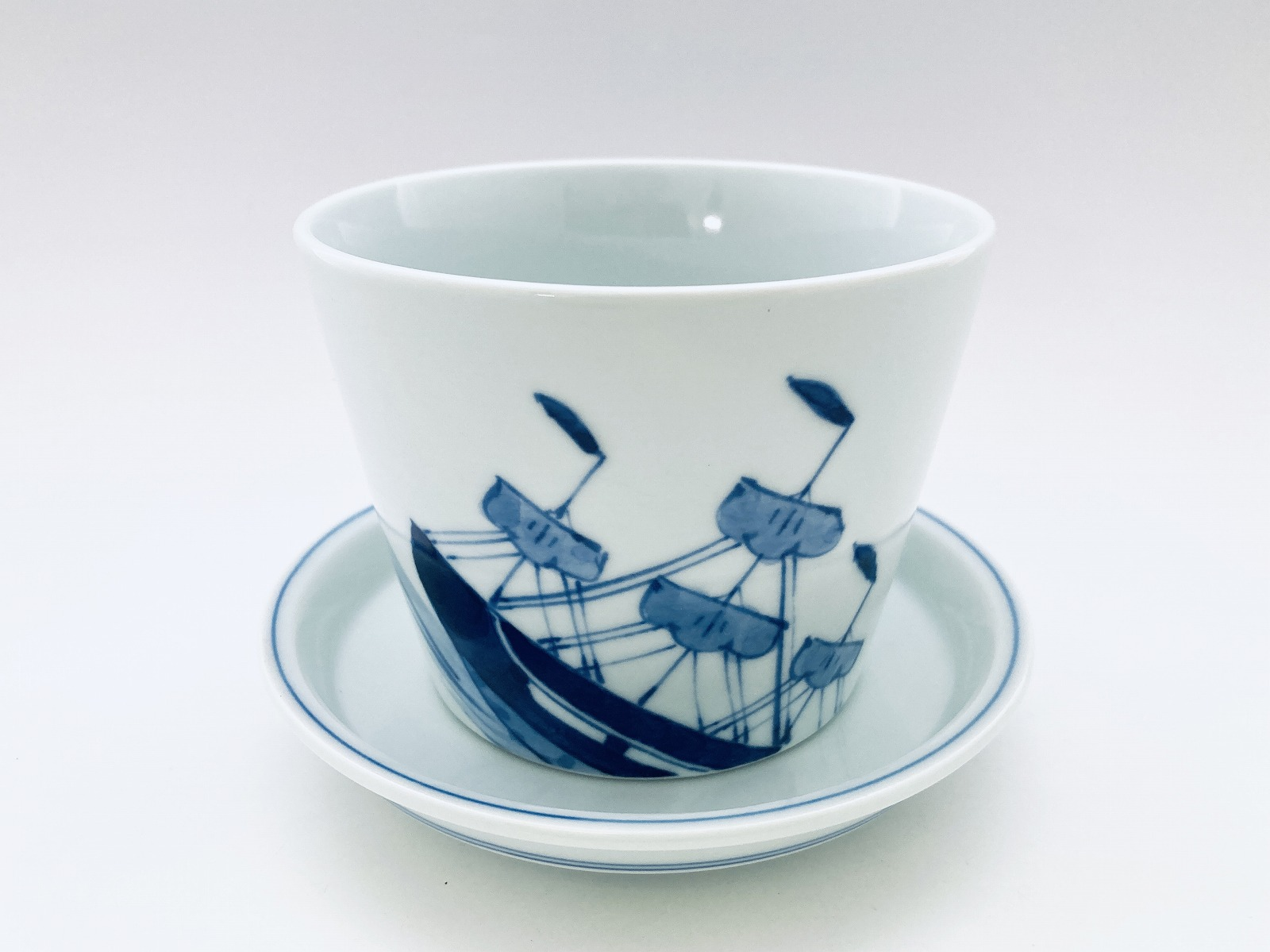 帆船フラワーポット しん窯青花(底穴有)
