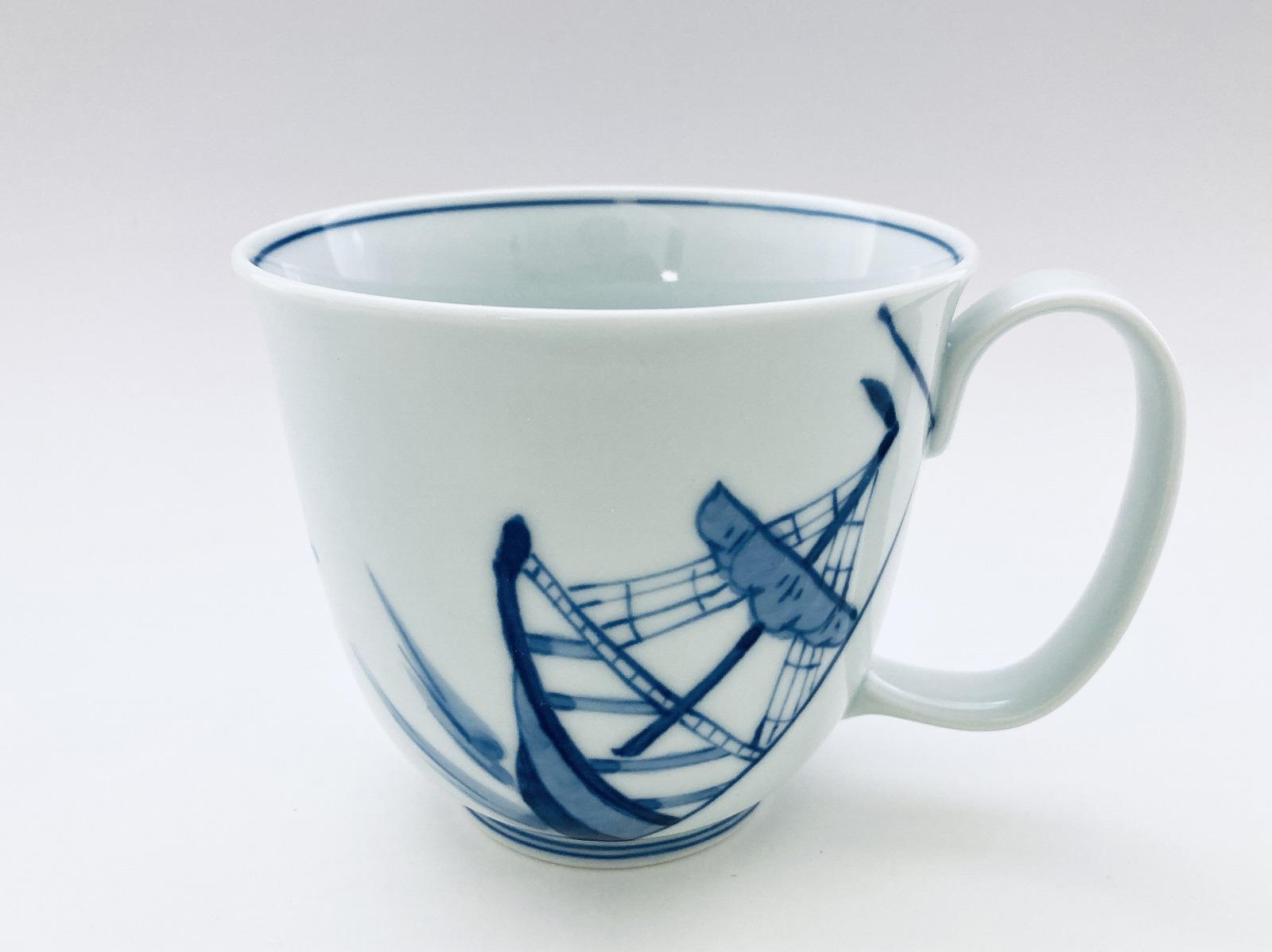 出船帆船フリーマグカップ(大)しん窯青花