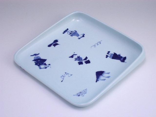 有田焼 青花 異人づくしすくい易い大皿