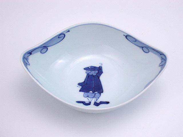 有田焼 青花 カール紅毛人舟型小鉢