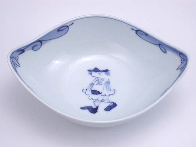 有田焼 青花 マント異人舟型中鉢