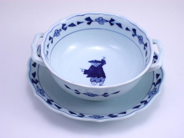 有田焼 青花 カール紅毛人耳付スープ碗皿