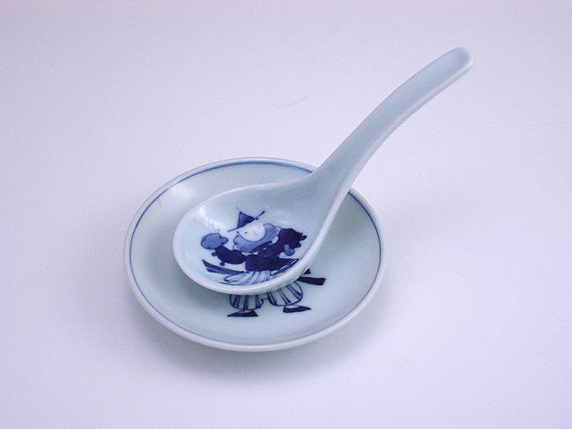 有田焼 青花 オランダ万才丸レンゲ(台皿付)