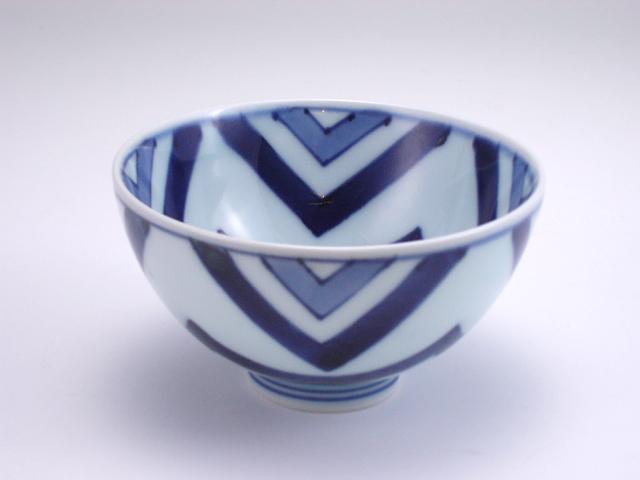 江戸紋3.5寸丸飯碗 しん窯 青花