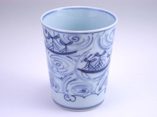 有田焼 青花 渦帆船ミルクカップ