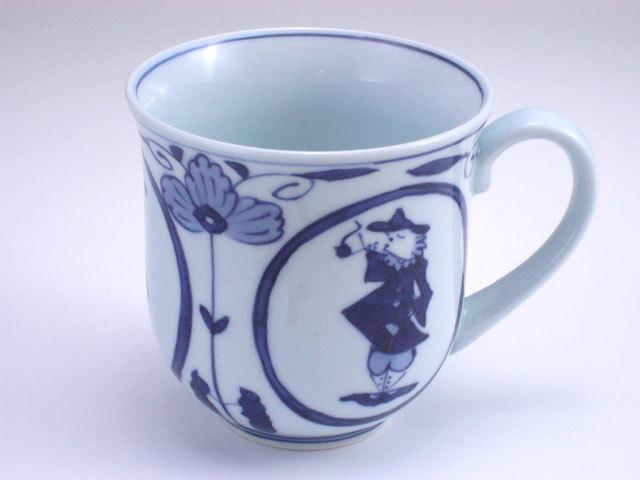 有田焼 青花 丸紋異人反マグカップ