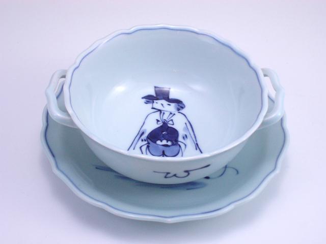 マント異人耳付スープ碗皿 しん窯 青花