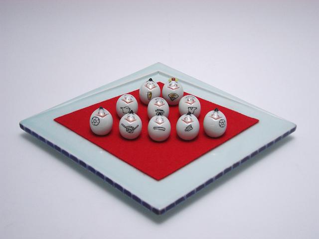 豆ひな人形10人揃(ひし型台皿付) しん窯 青花