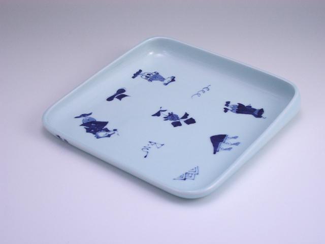 異人づくしすくい易い中皿 しん窯 青花