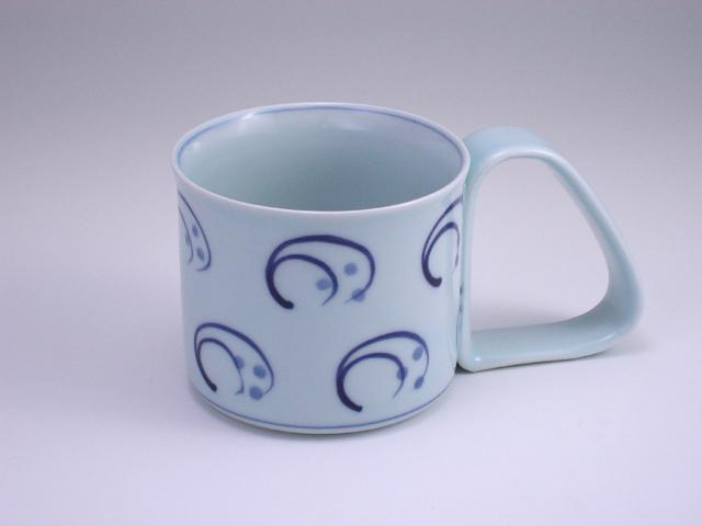 水草倒れにくいマグカップ(小) しん窯 青花