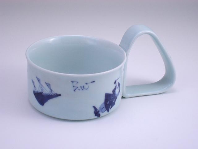 異人づくし倒れにくいスープカップ(大) しん窯 青花