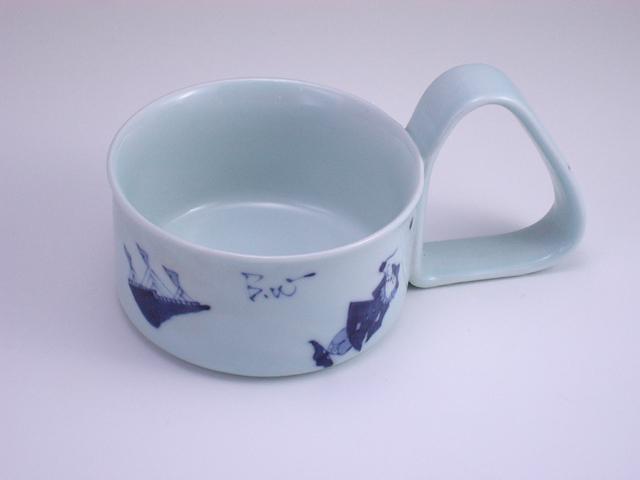 異人づくし倒れにくいスープカップ(小) しん窯 青花