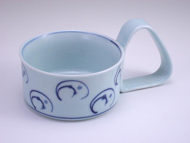 水草倒れにくいスープカップ(大) しん窯 青花