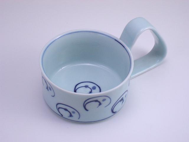 水草倒れにくいスープカップ(小) しん窯 青花