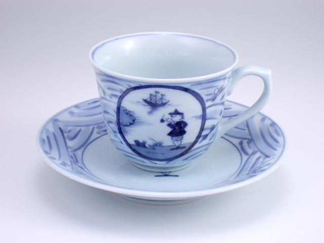 長崎紋百合型コーヒー碗皿 しん窯 青花