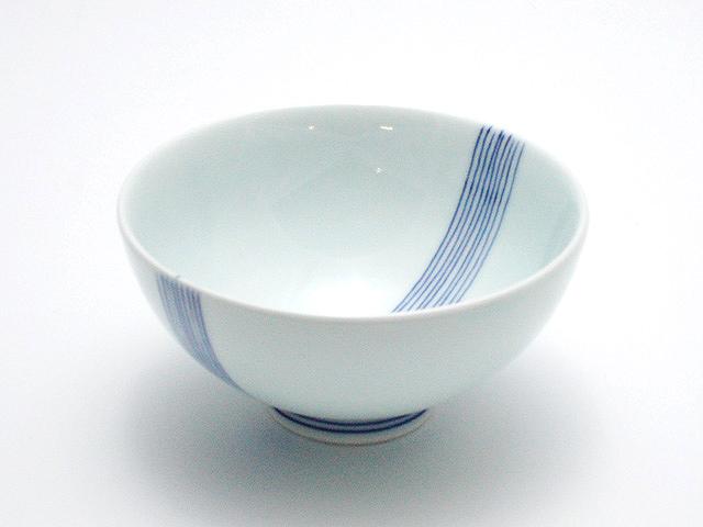 縞文4寸丸飯碗 青花 匠