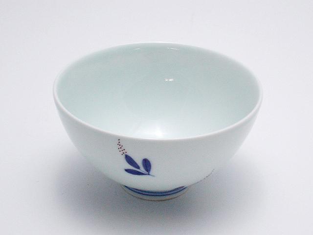 染錦南天3.8寸丸飯碗 青花 匠