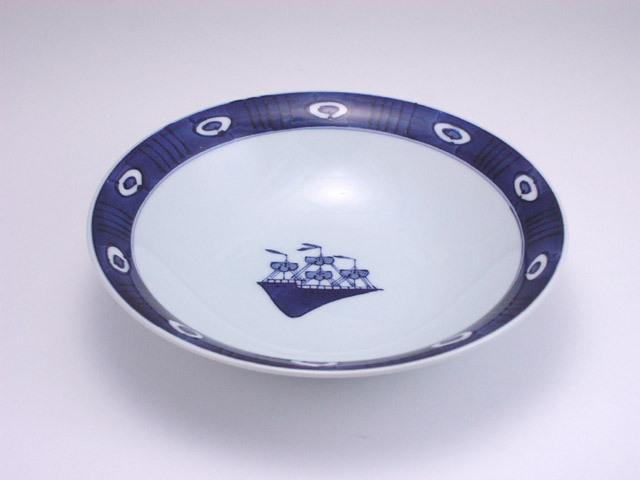 有田焼 青花 渕濃帆船反7寸スープ皿