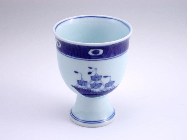 有田焼 青花 渕濃帆船ゴブレット