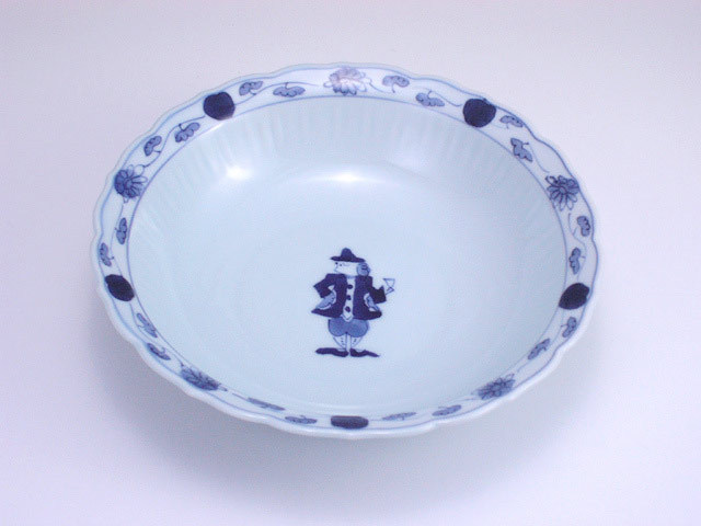 有田焼 青花 グラス異人桔梗渕6.5寸スープ皿