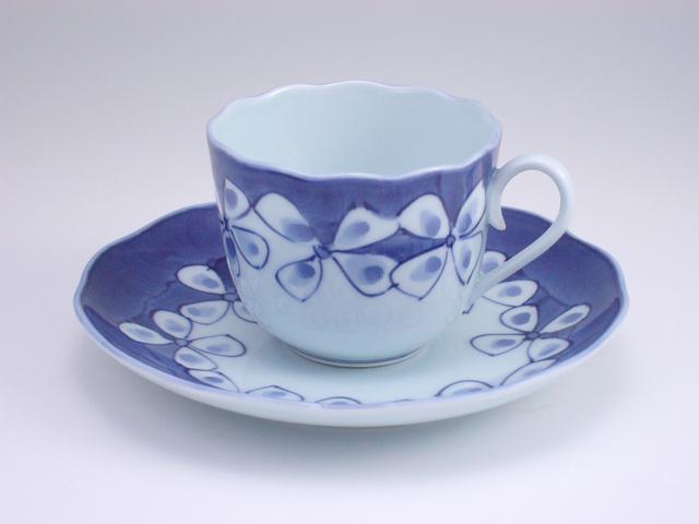 有田焼 青花 花つなぎノーブルコーヒー碗皿