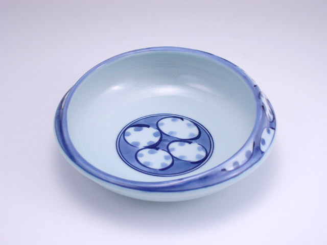 有田焼 青花 丸紋すくい易い丸鉢