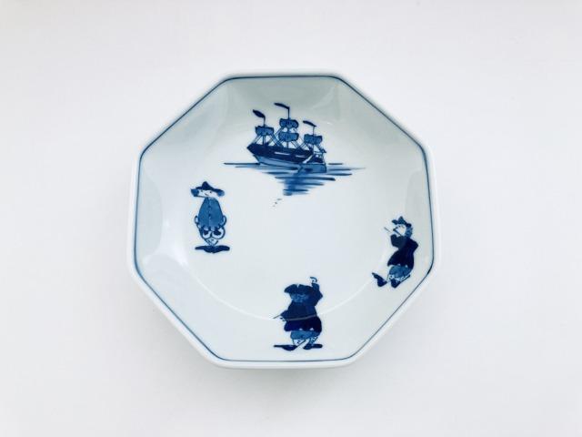 三人異人と帆船 正八角5寸皿 しん窯青花