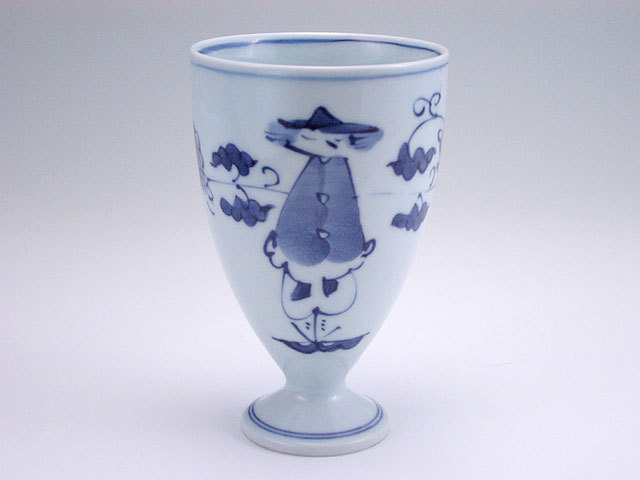 有田焼 青花 牡丹唐草紅毛人フリーカップ(大)