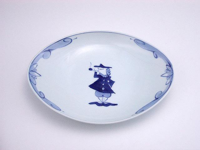 有田焼 青花 パイプ異人舟型小皿