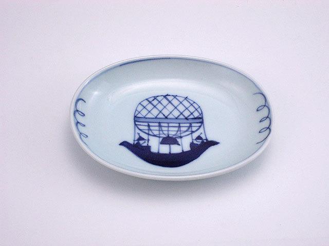 有田焼 青花 気球船小判小皿