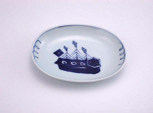 有田焼 青花 オランダ船小判小皿