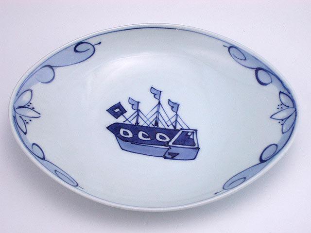 有田焼 青花 オランダ船舟型中皿