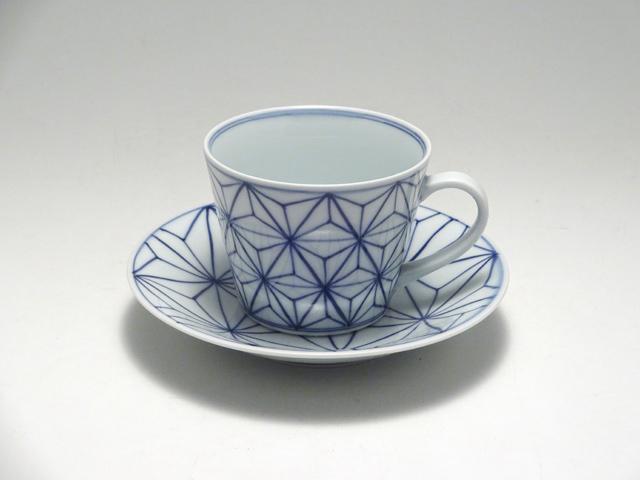 そば型コーヒー碗皿 ASANOHA しん窯 青花