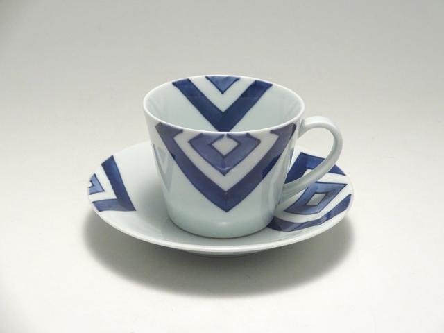 そば型コーヒー碗皿 EDO しん窯 青花
