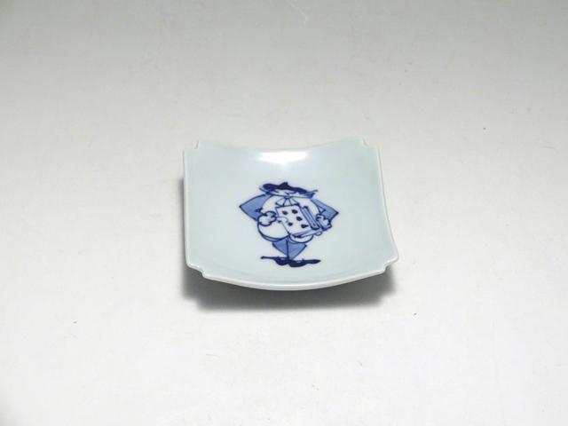 アコーディオン隅切角小皿 しん窯 青花