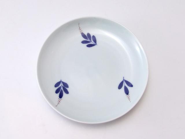 有田焼 青花匠 染錦南天4.7寸皿