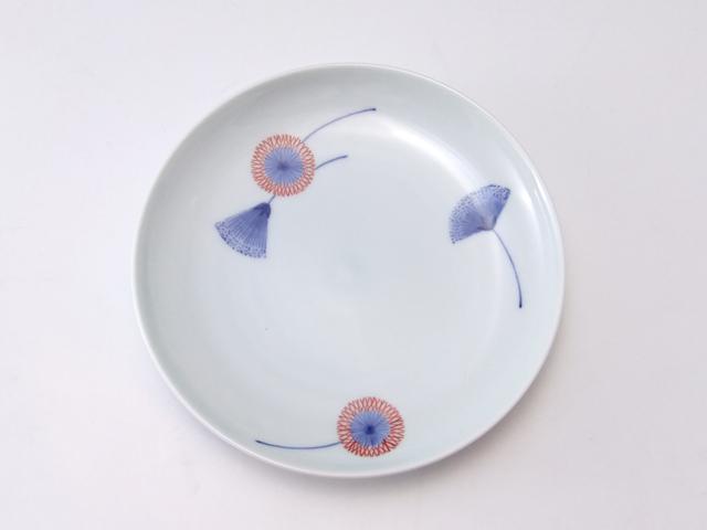 有田焼 青花匠 染錦合歓木4.7寸皿