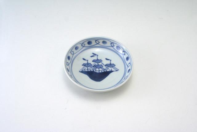 有田焼 青花 オランダ船3.6寸深小皿