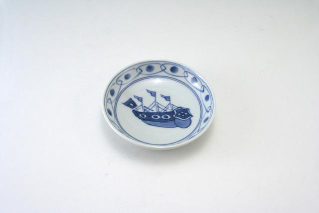 有田焼 青花 帆船3.6寸深小皿